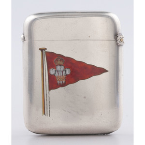 Stokes & Ireland Sterling Match Safe with Enameled Flags