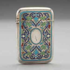 Enameled Russian Silver Match Safe