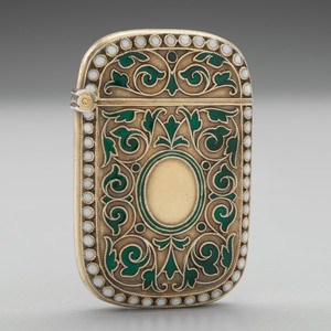 David Andersen Gilt Sterling and Enamel Match Safe