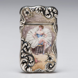 Reed & Barton Sterling Enameled Ballerina Match Safe