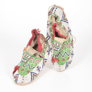 Sioux Beaded Hide Moccasins with Painted Parfleche Interior