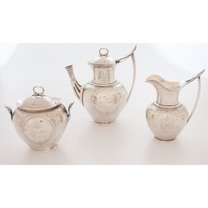 Peter L. Krider Coin Silver Coffee Set