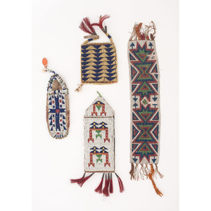 Northern Plains Beaded Hide Pouches AND Garter