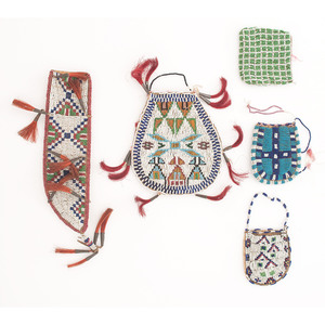 Northern Plains Beaded Hide Pouches AND Knife Sheath
