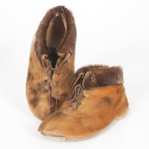 Arctic Seal Skin Shoes PLUS a Shoshone Beaded Hide Pouch