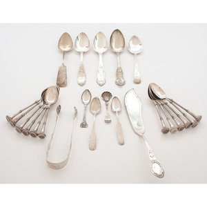 James Bingham Coin Silver Spoons and Other Flatware, Plus