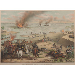 Civil War Chromolithographs by Kurz & Allison, Lot of Four Incl. Battle Between the Monitor and Merrimac
