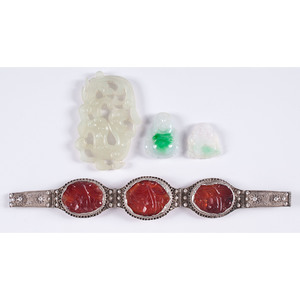 Jade Pendants and Silver Bracelet with Carnelian