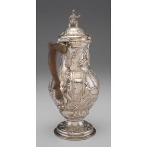 George III Sterling Chinoiserie Coffee Pot by John Swift