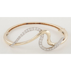 Jose Hess 14 Karat Two-Tone Diamond Bangle Bracelet