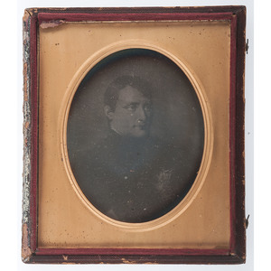 Napoleon Bonaparte, Irregular Half Plate Daguerreotype of a Painted Portrait