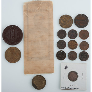 Civil War-Era Tokens, Including Lincoln and Grant, Plus Grant Mourning Ribbon