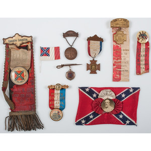 Confederate Veterans' Ribbons, Badges, and More, Lot of 9