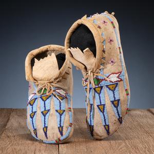 Nez Perce Beaded Hide Soft-Soled Moccasins