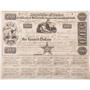 Charles DeMorse Signed Republic of Texas $500 Bond, 1840