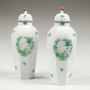 Pair of Herend Lidded Urns, Indian Basket Green