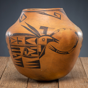 Nampeyo of Hano (Hopi, 1859-1942) Attributed, Pictorial Pottery Jar, From The Harriet and Seymour Koenig Collection, NY