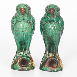 Late Qing Pottery Parrots