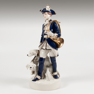 Royal Dux Hunter and Dogs Porcelain Figural Group
