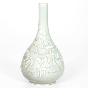 Chinese Celedon Carved Bottle Vase