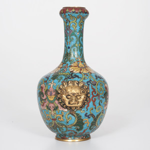 Fine Chinese Cloisonné Vase with Lion Mask Handles