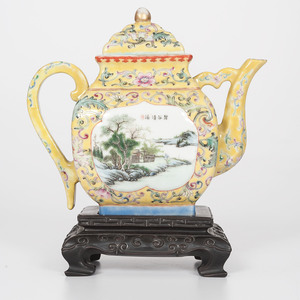Chinese Porcelain Teapot with Qianlong Mark