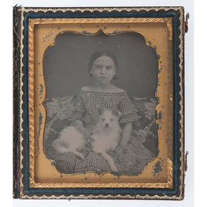 Sixth Plate Daguerreotype of a Girl and Her Dog