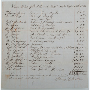 1852 Bourbon County, KY Slave Bill of Sale
