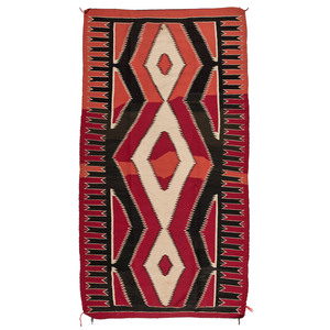 Navajo Red Mesa Outline Weaving / Rug, From The Harriet and Seymour Koenig Collection, NY