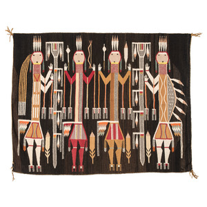 Navajo Pictorial Weaving with Holy People from the Nightway, From The Harriet and Seymour Koenig Collection, NY (Rug)