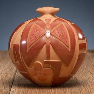 Tammy Garcia (Santa Clara, b. 1969) Carved Redware Pottery Jar