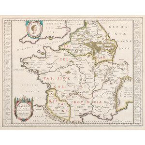 [Cartography - Europe - France] Abraham Ortelius, 16th Century Map of Ancient France with Hand Coloring