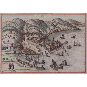 Hand-Colored Engraving After Braun & Hogenberg, View of Chios
