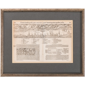 [16th Century Woodcut Illustration] Sebastian Munster (1448-1552) Two 16th Century Woodcuts from Cosmographia - View of Luneberg and Title Page