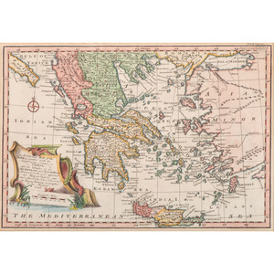 [Cartography - 18th Century - Greece] Emanuel Bowen (1693-1767), 18th Century Map of Greece, the Islands, and Part of Turkey - Hand Coloring - Framed