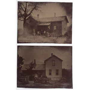 Whole Plate Tintypes of Families Posed in Front of Their Homes, Lot of 4