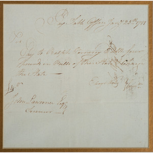 [Americana - Manuscript - Am. Revolution] Revolutionary War Receipt for Payment Issued in 1781, State of Connecticut Pay Table Office