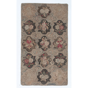 Hooked Rug with Floral Reserves
