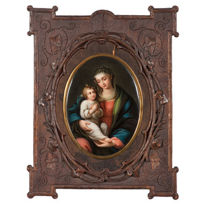 KPM Porcelain Plaque of Mary and Jesus in Carved Frame