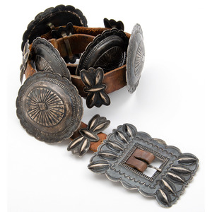 Navajo Stamped Silver Concha Belt
