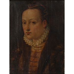 English School, Portrait of a Woman on Panel