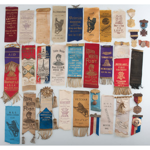 Lot of 19th and 20th Century Fraternal Ribbons and Insignia, including GAR