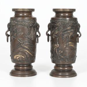 Japanese Meiji Bronze Vases
