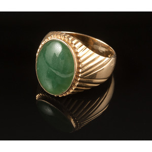 18k Gold Jade Ring
