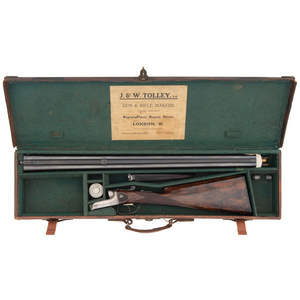 ** Cased English J & W Tolley Buck and Ball Rifle