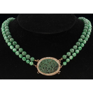 Jade Bead Double Strand Necklace