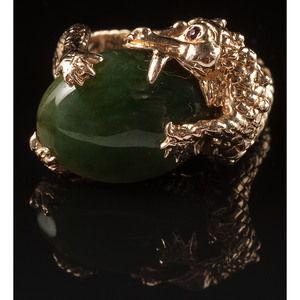 14k Gold Dragon Ring with Nephrite