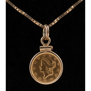 1850 Liberty Head Gold Dollar Coin Necklace