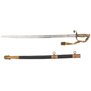 Historic Identified Model 1852 U.S. Navy Officer's Sword to Cmdr./A Bryson/U.S.S. Lehigh/ U.S.V./1863 with Leather Scabbard