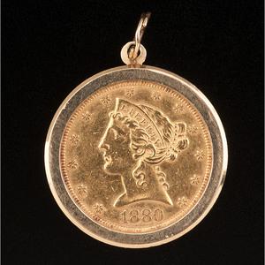 1880 Half Eagle Coin Pendant